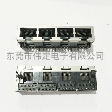 1x4 四胞RJ45网络接插件带屏蔽壳