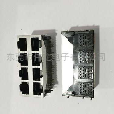 59 2X4双排8口带屏蔽壳RJ45网络插口