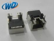 贴片式带屏蔽壳RJ45网线插口8P8C带五金定位柱塑胶定位柱