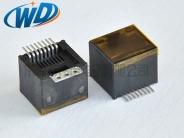 180度 RJ45 8P8C SMT网络插座带3孔固定片贴防尘膜