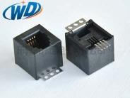 180度RJ11 SMT电话接口4P4C带3孔固定片  高12.70mm