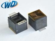 180度插入 RJ12 6P6C 电话插座带3孔焊片贴防尘膜 高12.70mm