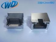 沉板4.2mm带灯SMT RJ45网络接口8P8C 贴片网口