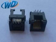 沉板DIP超小型RJ11电话插座 6P6C 板下高度3.0mm