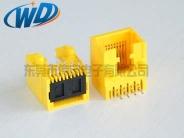东莞高品质RJ45工厂  侧插网络接口 8P8C黄色胶壳 扁针镀金6U
