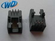 插件 RJ11 6P6C 电话母座扁针镀金6U