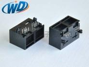 1X2 双口 RJ12 6P6C 扁针电话插座