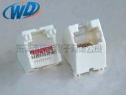 杭州45度插入 RJ45 8针 全塑白色网络插座