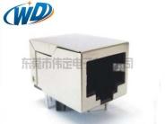 东莞带网络变压器RJ45厂家 开口朝下无灯内置线圈网络接口