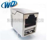 RJ45+单层USB 带网络滤波器线圈 百兆POE功能