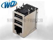 RJ45+双层USB带百兆千兆网络变压器