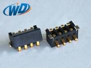 2.50mm间距 卧式侧压 4PIN 弹片型电池接触片连接器 塑高5.0mm