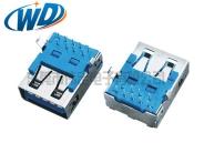 广东厂家直销USB 3.0母座 AF平口弯脚 镀金可选
