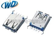 东莞厂家 高品质USB 3.0 A母 180度 DIP 弯脚卷边 H=14.95mm