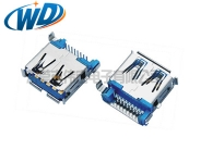 沉板DIP式USB 3.0连接器插头 A TYPE母座卷边 蓝胶