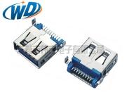 沉板贴片式USB 3.0连接器 A母头 SMT接口 方脚平口