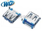 沉板型USB 3.0连接器 AF贴片 SMT方脚卷边板上高3.5mm
