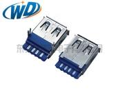 天津焊线一体式USB 3.0 AF接口母座可带鱼叉脚