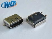 19PIN 全贴片带定位柱 HDMI 高清接口 SMT连接器