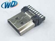 20PIN 加接地线 HDMI 接口公座 焊线高清接头