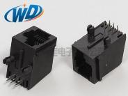 6P6C带耳右歪RJ11电话母头  6针插口右扣式插座