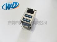 RJ45连接器+双层USB 3.0接口 三合一插座