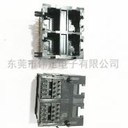 59 2X2全塑双层四口RJ45连接器