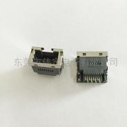 北京沉板带灯RJ45连接器 超薄网络接口整高9.8mm